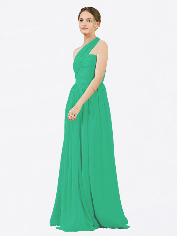 Mila Queen Chloe Bridesmaid Dress Emerald Green - A-Line One Shoulder Long Bridesmaid Gown Chloe in Emerald Green