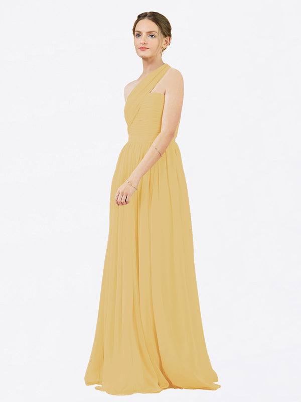 Mila Queen Chloe Bridesmaid Dress Gold - A-Line One Shoulder Long Bridesmaid Gown Chloe in Gold