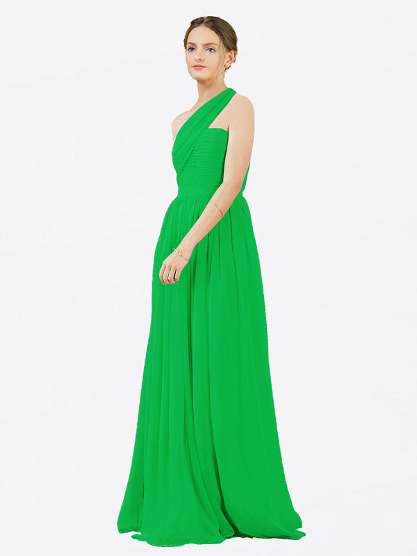 Mila Queen Chloe Bridesmaid Dress Green - A-Line One Shoulder Long Bridesmaid Gown Chloe in Green