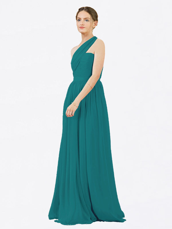 Mila Queen Chloe Bridesmaid Dress Hunter - A-Line One Shoulder Long Bridesmaid Gown Chloe in Hunter