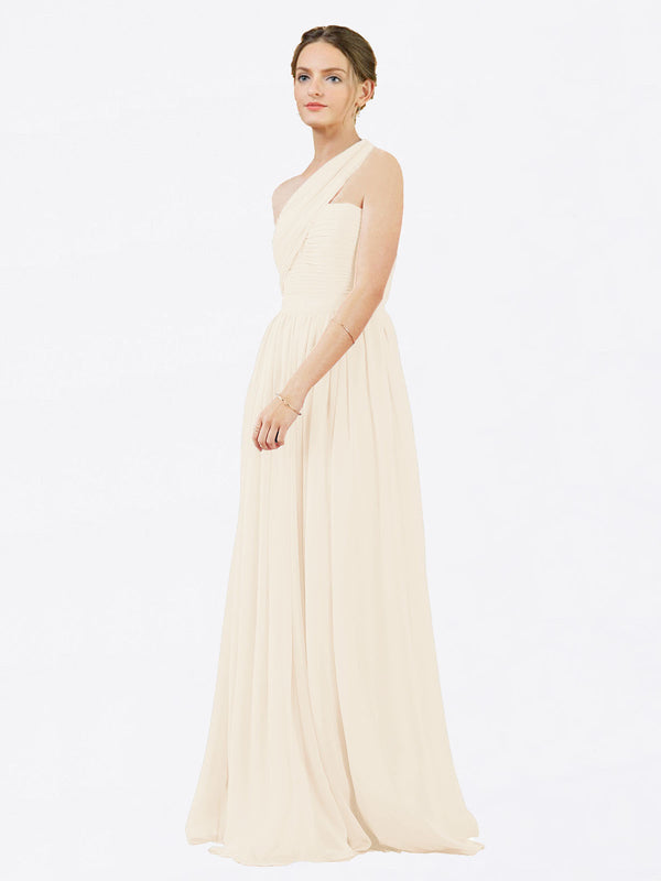 Mila Queen Chloe Bridesmaid Dress Light Champagne - A-Line One Shoulder Long Bridesmaid Gown Chloe in Light Champagne