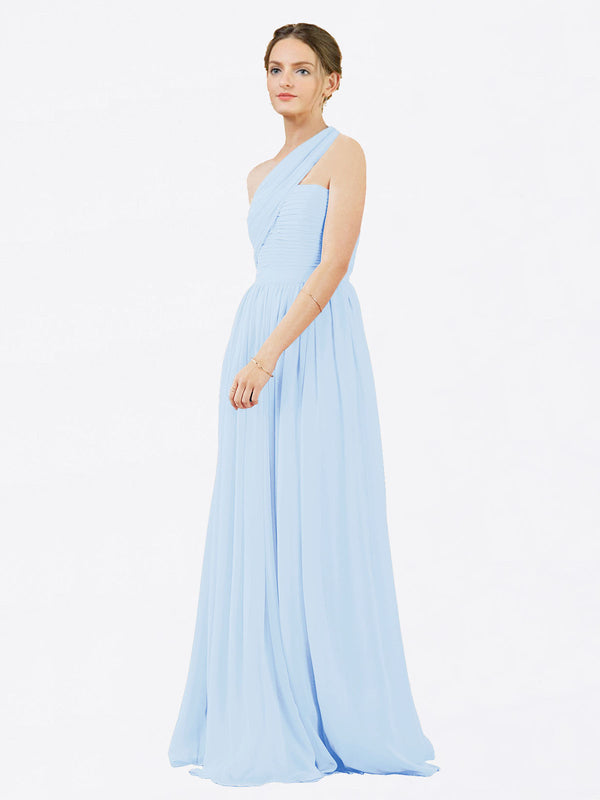 Mila Queen Chloe Bridesmaid Dress Light Sky Blue - A-Line One Shoulder Long Bridesmaid Gown Chloe in Light Sky Blue