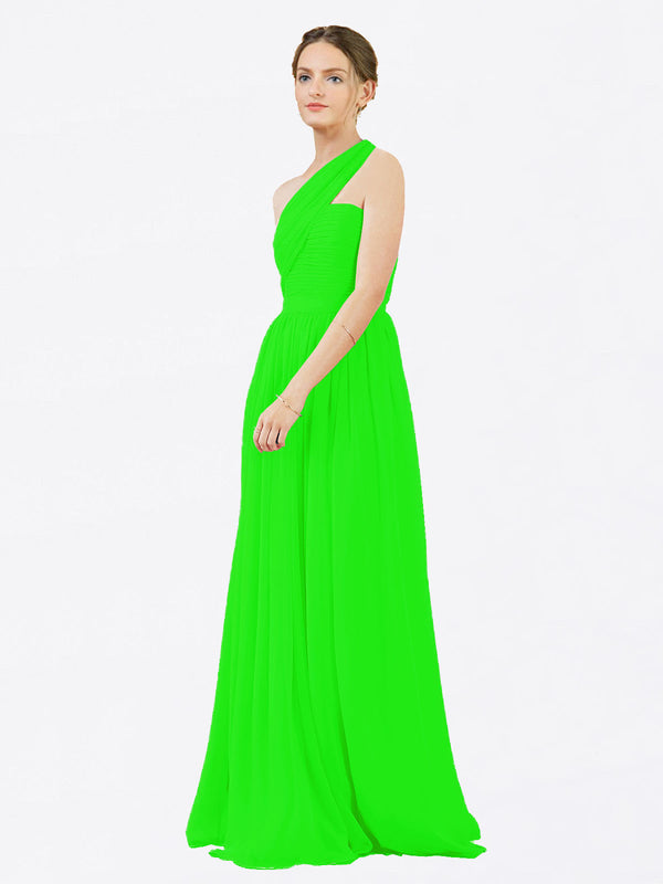 Mila Queen Chloe Bridesmaid Dress Lime Green - A-Line One Shoulder Long Bridesmaid Gown Chloe in Lime Green