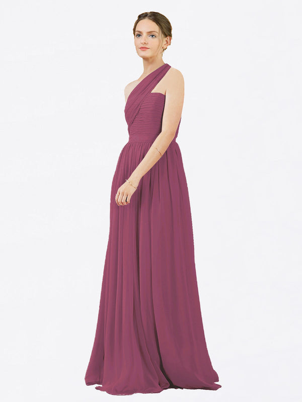 Mila Queen Chloe Bridesmaid Dress Mauve Taupe - A-Line One Shoulder Long Bridesmaid Gown Chloe in Mauve Taupe