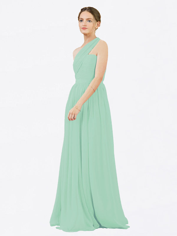Mila Queen Chloe Bridesmaid Dress Mint Green - A-Line One Shoulder Long Bridesmaid Gown Chloe in Mint Green