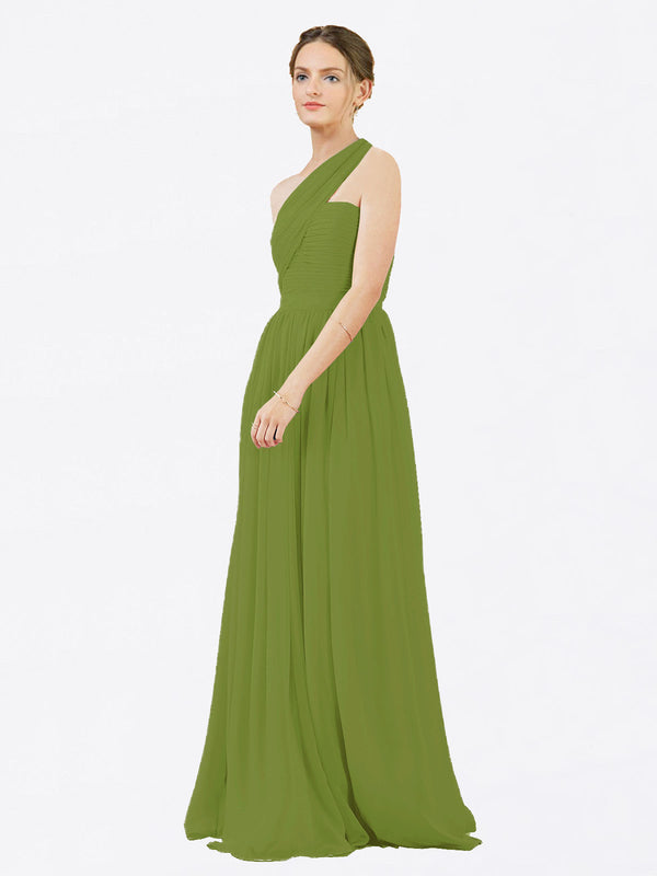 Mila Queen Chloe Bridesmaid Dress Olive Green - A-Line One Shoulder Long Bridesmaid Gown Chloe in Olive Green