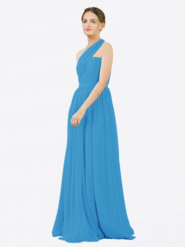 Mila Queen Chloe Bridesmaid Dress Peacock Blue - A-Line One Shoulder Long Bridesmaid Gown Chloe in Peacock Blue