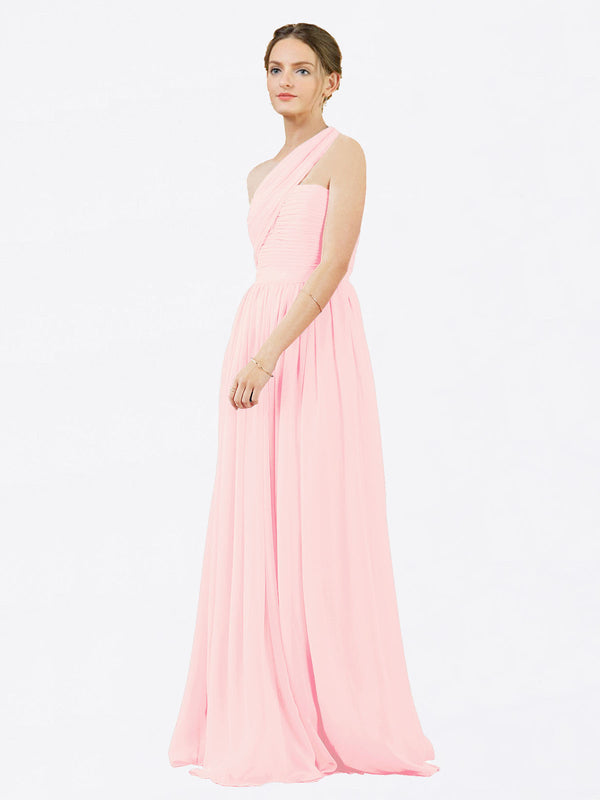 Mila Queen Chloe Bridesmaid Dress Pink - A-Line One Shoulder Long Bridesmaid Gown Chloe in Pink