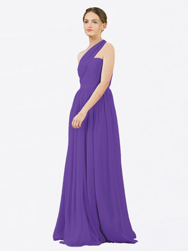 Mila Queen Chloe Bridesmaid Dress Purple - A-Line One Shoulder Long Bridesmaid Gown Chloe in Purple