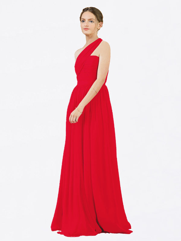 Mila Queen Chloe Bridesmaid Dress Red - A-Line One Shoulder Long Bridesmaid Gown Chloe in Red