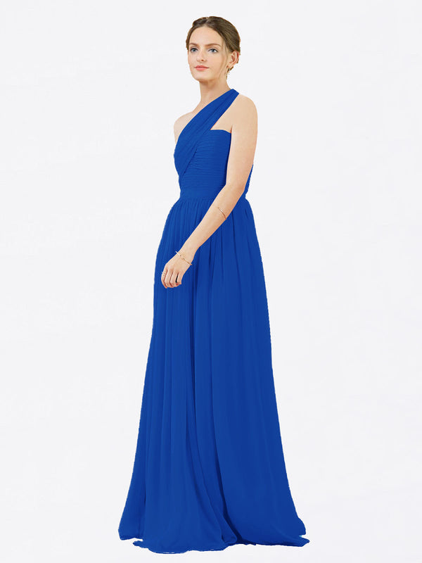 Mila Queen Chloe Bridesmaid Dress Royal Blue - A-Line One Shoulder Long Bridesmaid Gown Chloe in Royal Blue
