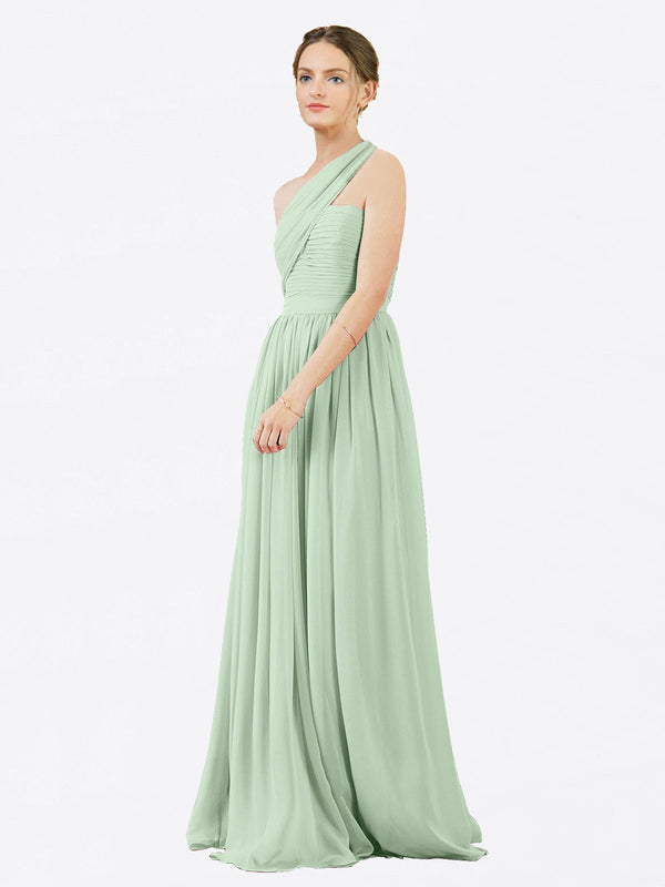 Mila Queen Chloe Bridesmaid Dress Sage - A-Line One Shoulder Long Bridesmaid Gown Chloe in Sage