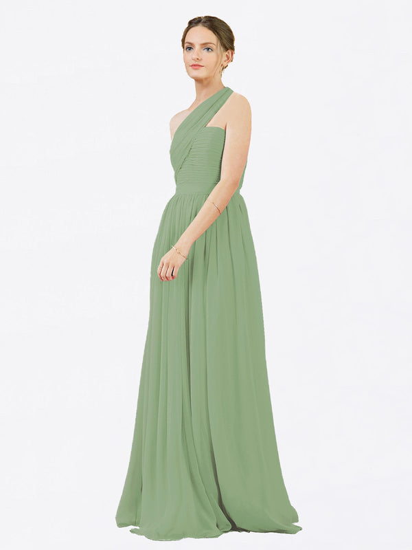 Mila Queen Chloe Bridesmaid Dress Seagrass - A-Line One Shoulder Long Bridesmaid Gown Chloe in Seagrass