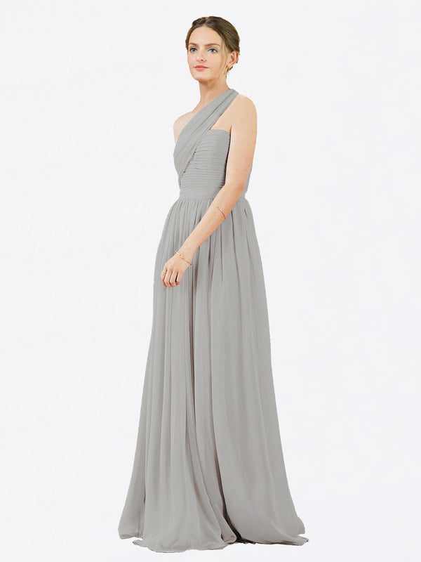 Mila Queen Chloe Bridesmaid Dress Silver - A-Line One Shoulder Long Bridesmaid Gown Chloe in Silver