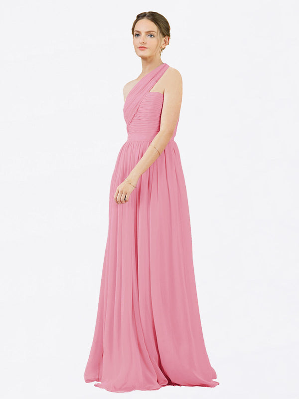 Mila Queen Chloe Bridesmaid Dress Skin Pink - A-Line One Shoulder Long Bridesmaid Gown Chloe in Skin Pink