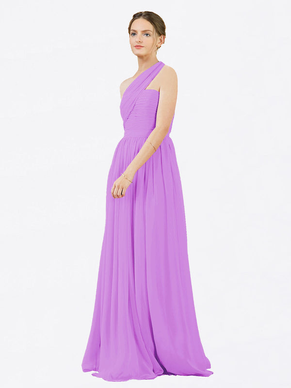Mila Queen Chloe Bridesmaid Dress Violet - A-Line One Shoulder Long Bridesmaid Gown Chloe in Violet