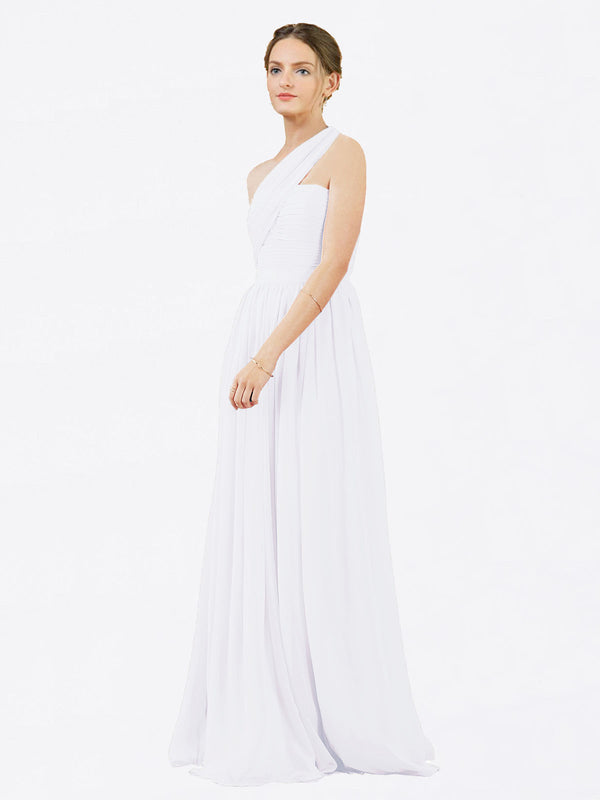 Mila Queen Chloe Bridesmaid Dress White - A-Line One Shoulder Long Bridesmaid Gown Chloe in White