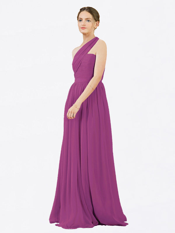 Mila Queen Chloe Bridesmaid Dress Wild Berry - A-Line One Shoulder Long Bridesmaid Gown Chloe in Wild Berry