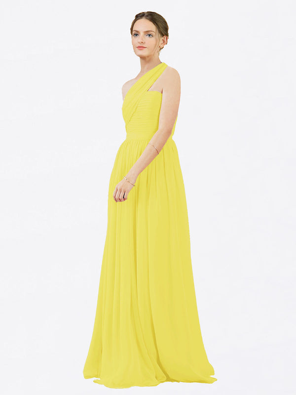 Mila Queen Chloe Bridesmaid Dress Yellow - A-Line One Shoulder Long Bridesmaid Gown Chloe in Yellow