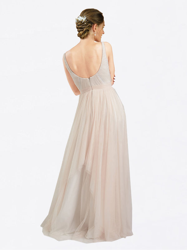 A-Line Scoop Floor Length Sleeveless Long Tulle Bridesmaid Dress Lily