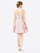 Short A-Line Sweetheart Satin Pink Knee Length Sleeveless Bridesmaid Dress Zoe