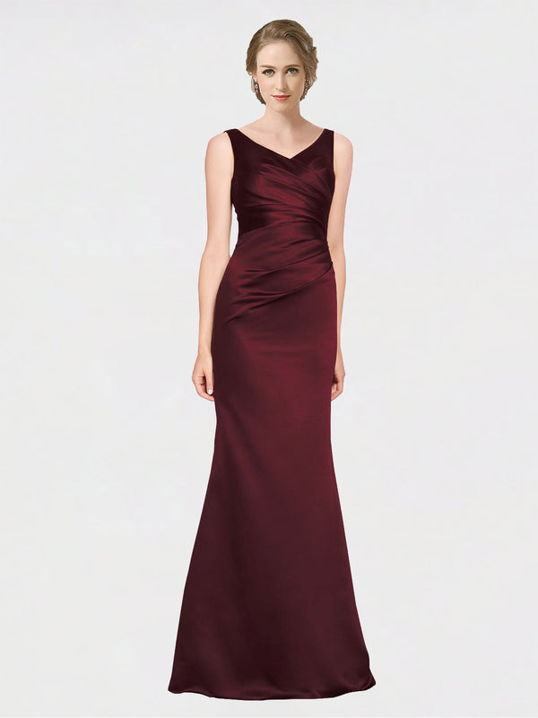 A-Line V-Neck Floor Length Sleeveless Satin Long Burgundy Bridesmaid Dress Isabela