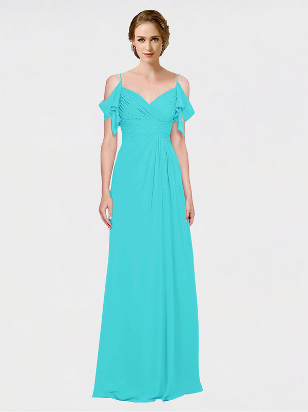 Mila Queen Joyce Bridesmaid Dress Aqua - A-Line Spaghetti Straps Sweetheart Off the Shoulder Long Bridesmaid Gown Joyce in Aqua