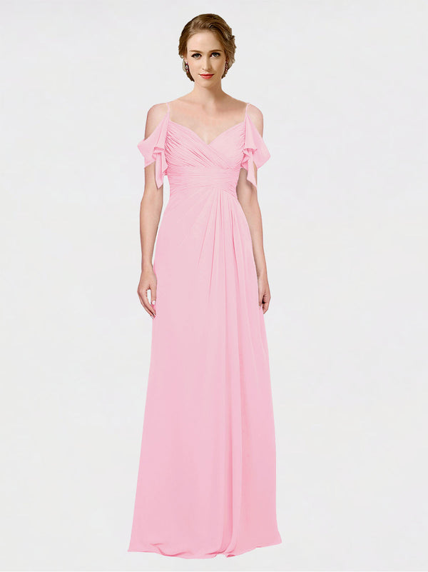 Mila Queen Joyce Bridesmaid Dress Barely Pink - A-Line Spaghetti Straps Sweetheart Off the Shoulder Long Bridesmaid Gown Joyce in Barely Pink