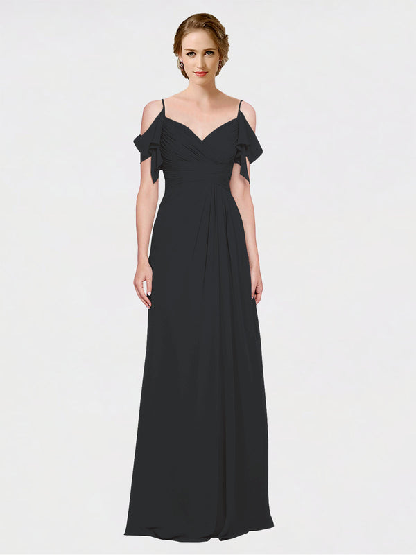 Mila Queen Joyce Bridesmaid Dress Black - A-Line Spaghetti Straps Sweetheart Off the Shoulder Long Bridesmaid Gown Joyce in Black