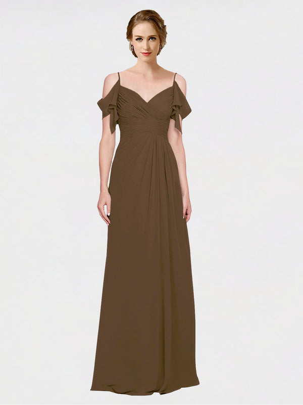 Mila Queen Joyce Bridesmaid Dress Brown - A-Line Spaghetti Straps Sweetheart Off the Shoulder Long Bridesmaid Gown Joyce in Brown