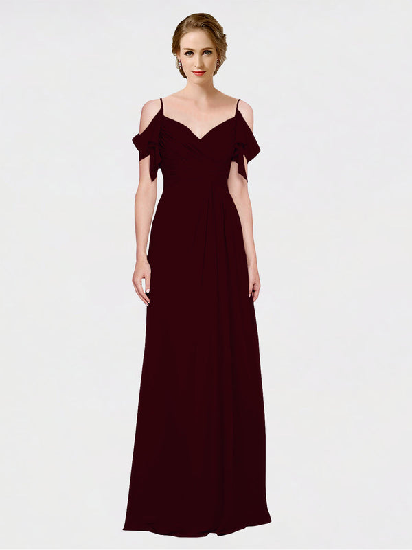 Mila Queen Joyce Bridesmaid Dress Burgundy Gold - A-Line Spaghetti Straps Sweetheart Off the Shoulder Long Bridesmaid Gown Joyce in Burgundy Gold