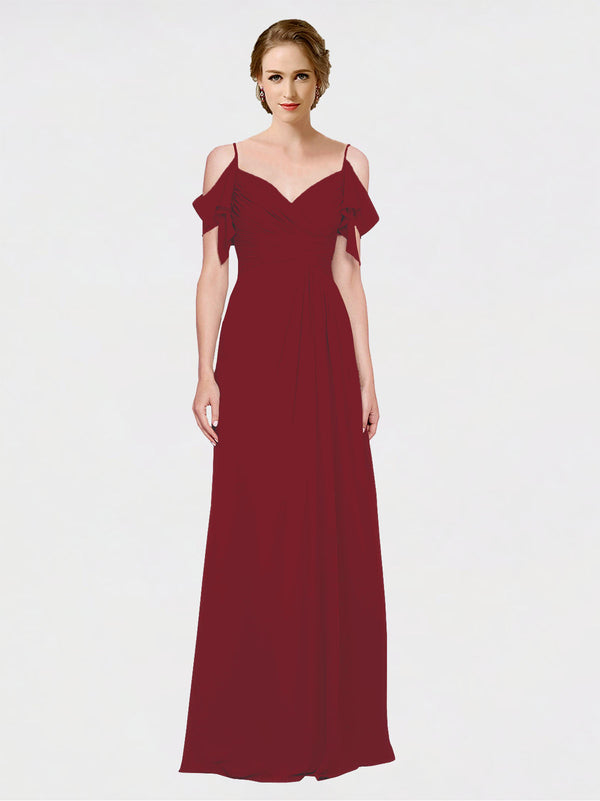 Mila Queen Joyce Bridesmaid Dress Burgundy - A-Line Spaghetti Straps Sweetheart Off the Shoulder Long Bridesmaid Gown Joyce in Burgundy