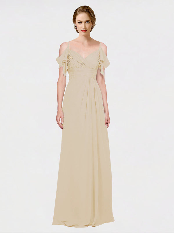 Mila Queen Joyce Bridesmaid Dress Champagne - A-Line Spaghetti Straps Sweetheart Off the Shoulder Long Bridesmaid Gown Joyce in Champagne