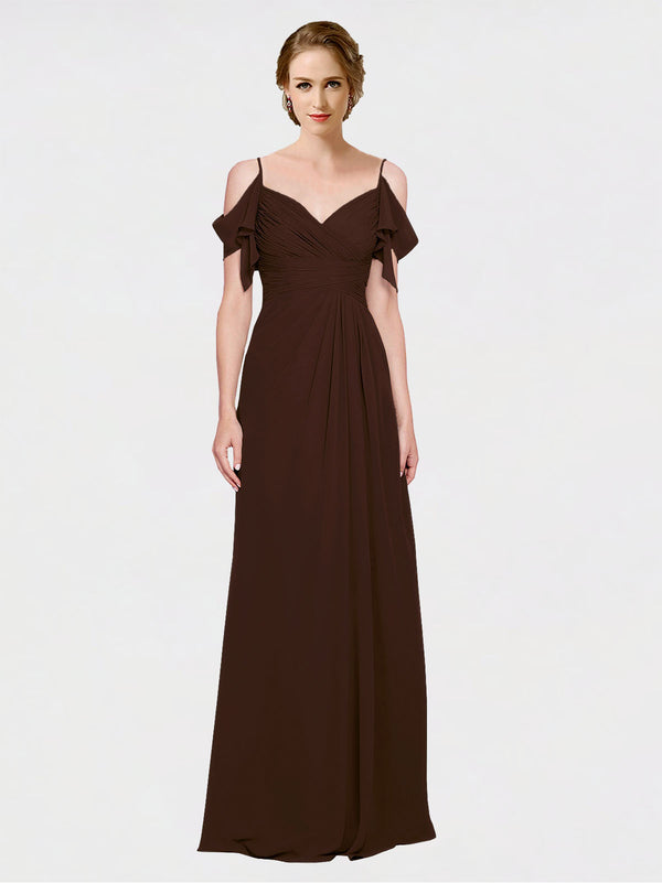 Mila Queen Joyce Bridesmaid Dress Chocolate - A-Line Spaghetti Straps Sweetheart Off the Shoulder Long Bridesmaid Gown Joyce in Chocolate