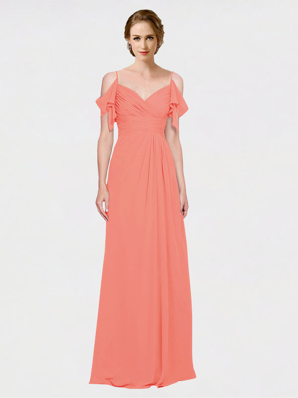 Mila Queen Joyce Bridesmaid Dress Coral - A-Line Spaghetti Straps Sweetheart Off the Shoulder Long Bridesmaid Gown Joyce in Coral