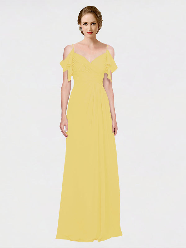 Mila Queen Joyce Bridesmaid Dress Daffodil - A-Line Spaghetti Straps Sweetheart Off the Shoulder Long Bridesmaid Gown Joyce in Daffodil