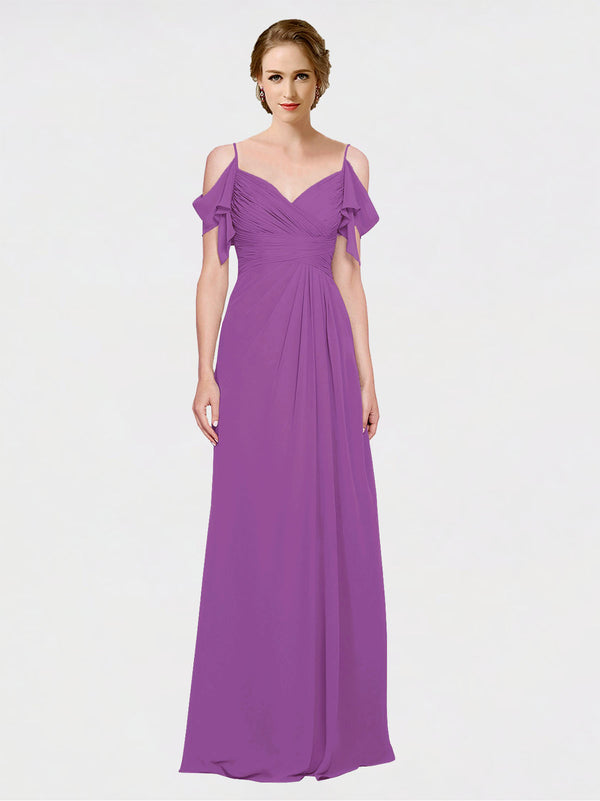 Mila Queen Joyce Bridesmaid Dress Dahlia - A-Line Spaghetti Straps Sweetheart Off the Shoulder Long Bridesmaid Gown Joyce in Dahlia