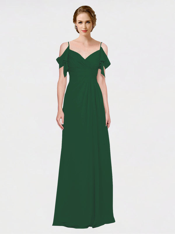 Mila Queen Joyce Bridesmaid Dress Dark Green - A-Line Spaghetti Straps Sweetheart Off the Shoulder Long Bridesmaid Gown Joyce in Dark Green