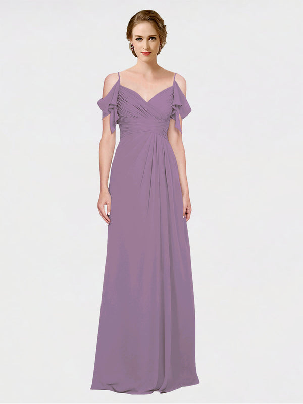 Mila Queen Joyce Bridesmaid Dress Dark Lavender - A-Line Spaghetti Straps Sweetheart Off the Shoulder Long Bridesmaid Gown Joyce in Dark Lavender