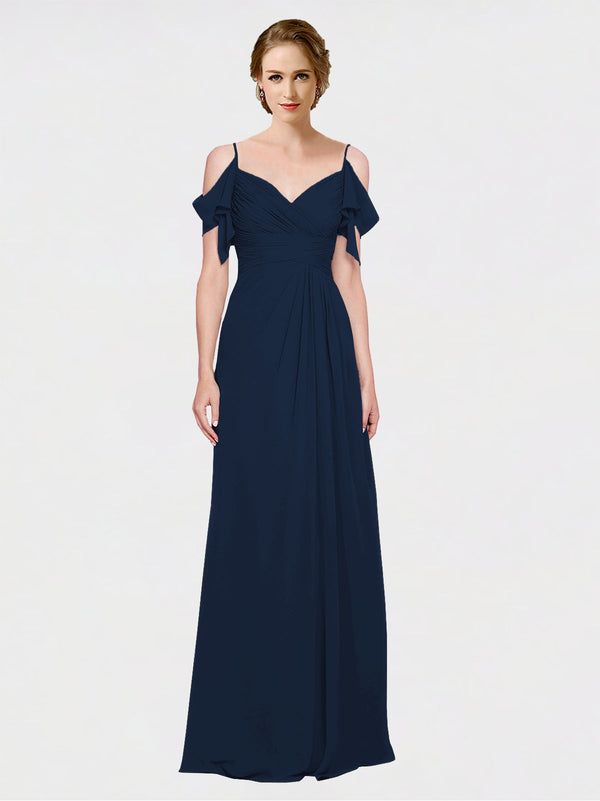 Mila Queen Joyce Bridesmaid Dress Dark Navy - A-Line Spaghetti Straps Sweetheart Off the Shoulder Long Bridesmaid Gown Joyce in Dark Navy