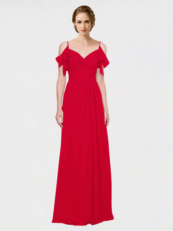 Mila Queen Joyce Bridesmaid Dress Dark Red - A-Line Spaghetti Straps Sweetheart Off the Shoulder Long Bridesmaid Gown Joyce in Dark Red