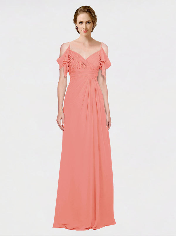 Mila Queen Joyce Bridesmaid Dress Desert Rose - A-Line Spaghetti Straps Sweetheart Off the Shoulder Long Bridesmaid Gown Joyce in Desert Rose
