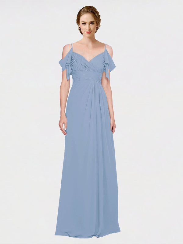 Mila Queen Joyce Bridesmaid Dress Dusty Blue - A-Line Spaghetti Straps Sweetheart Off the Shoulder Long Bridesmaid Gown Joyce in Dusty Blue