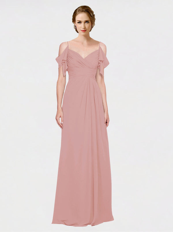 Mila Queen Joyce Bridesmaid Dress Dusty Pink - A-Line Spaghetti Straps Sweetheart Off the Shoulder Long Bridesmaid Gown Joyce in Dusty Pink