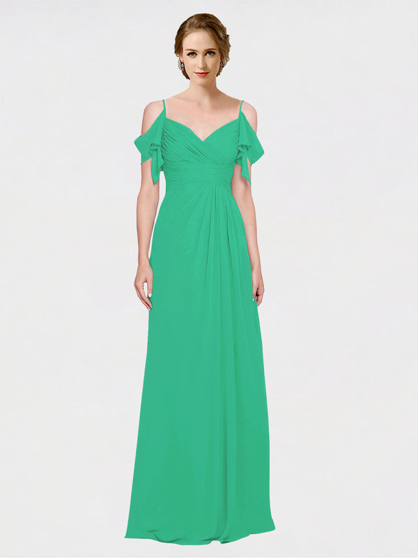 Mila Queen Joyce Bridesmaid Dress Emerald Green - A-Line Spaghetti Straps Sweetheart Off the Shoulder Long Bridesmaid Gown Joyce in Emerald Green