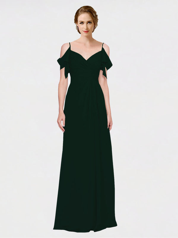 Mila Queen Joyce Bridesmaid Dress Ever Green - A-Line Spaghetti Straps Sweetheart Off the Shoulder Long Bridesmaid Gown Joyce in Ever Green