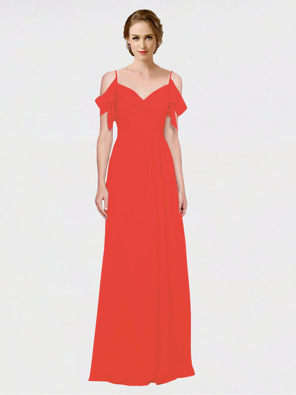 Mila Queen Joyce Bridesmaid Dress Firecracker - A-Line Spaghetti Straps Sweetheart Off the Shoulder Long Bridesmaid Gown Joyce in Firecracker