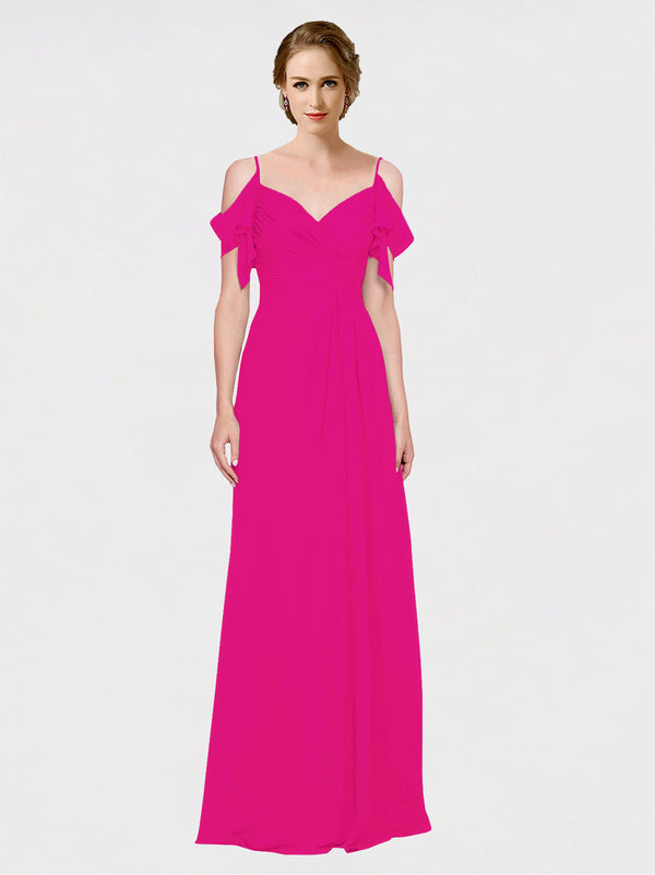 Mila Queen Joyce Bridesmaid Dress Fuchsia - A-Line Spaghetti Straps Sweetheart Off the Shoulder Long Bridesmaid Gown Joyce in Fuchsia