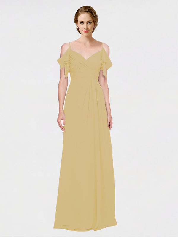 Mila Queen Joyce Bridesmaid Dress Gold - A-Line Spaghetti Straps Sweetheart Off the Shoulder Long Bridesmaid Gown Joyce in Gold