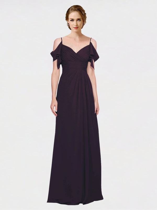 Mila Queen Joyce Bridesmaid Dress Grape - A-Line Spaghetti Straps Sweetheart Off the Shoulder Long Bridesmaid Gown Joyce in Grape